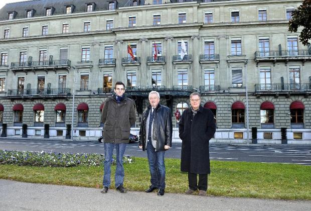 Les municipaux Simon Brandt (PLR), Jean-Charles Lathion (PDC) et Daniel Sormanni (MCG).  DAVID ROSEMBAUM-KATZMAN